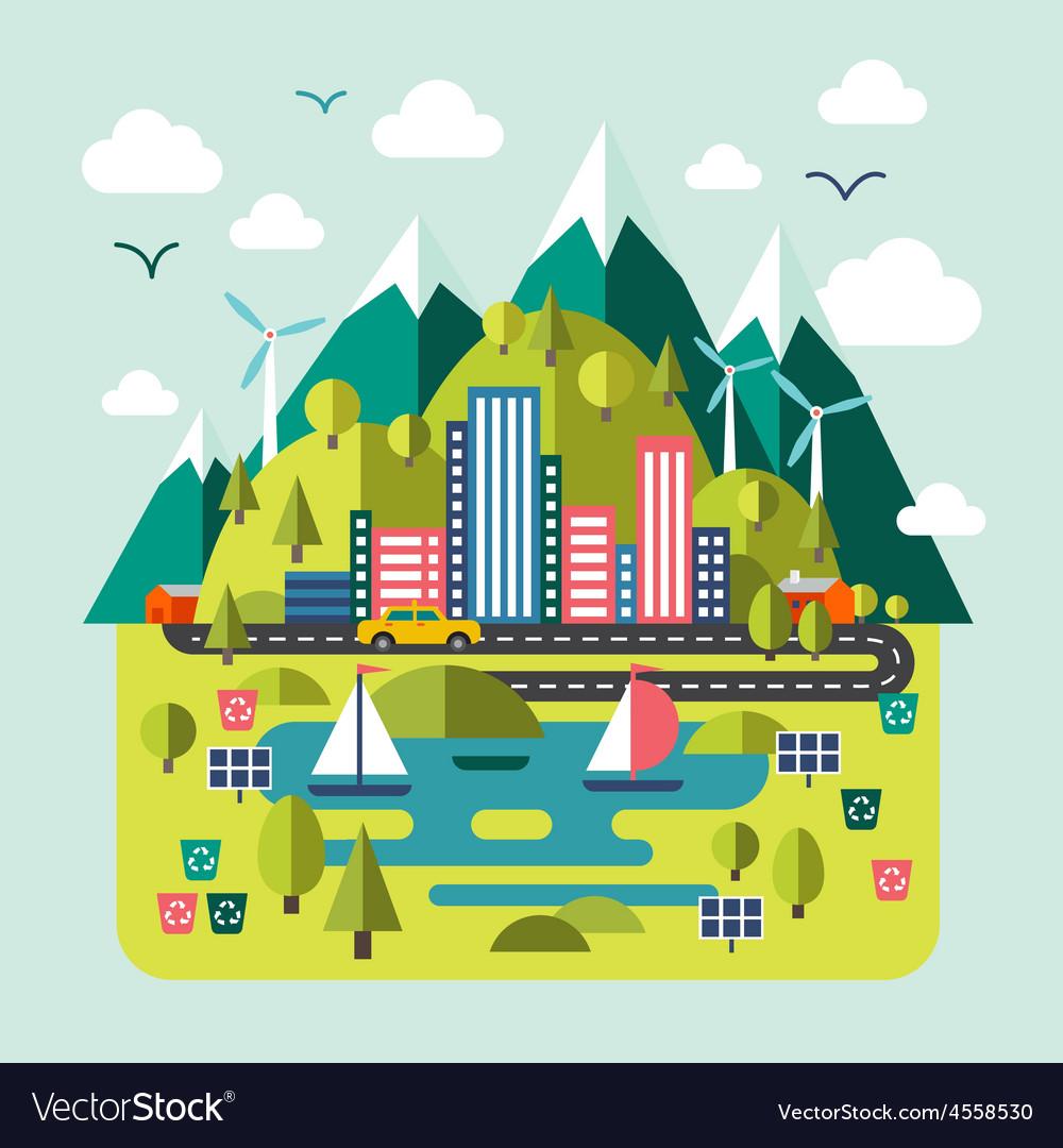 Mountain landscape nature river environmentally vector | Price: 3 Credit (USD $3)