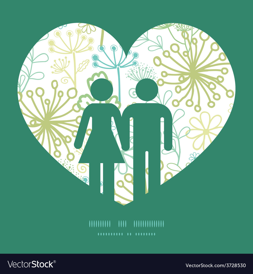 Mysterious green garden couple in love vector | Price: 1 Credit (USD $1)