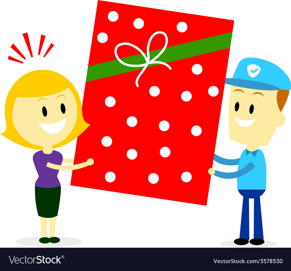 Postman delivering a big present gift to a woman vector | Price: 1 Credit (USD $1)