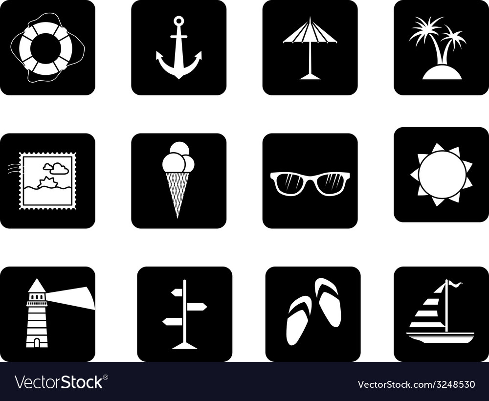 Set of 12 square icons vector | Price: 1 Credit (USD $1)