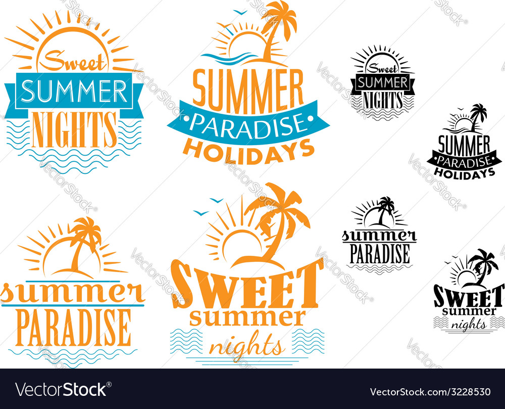 Summer travel and vacation badges vector | Price: 1 Credit (USD $1)