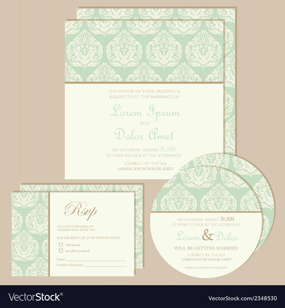 Vintage invitation set vector | Price: 1 Credit (USD $1)
