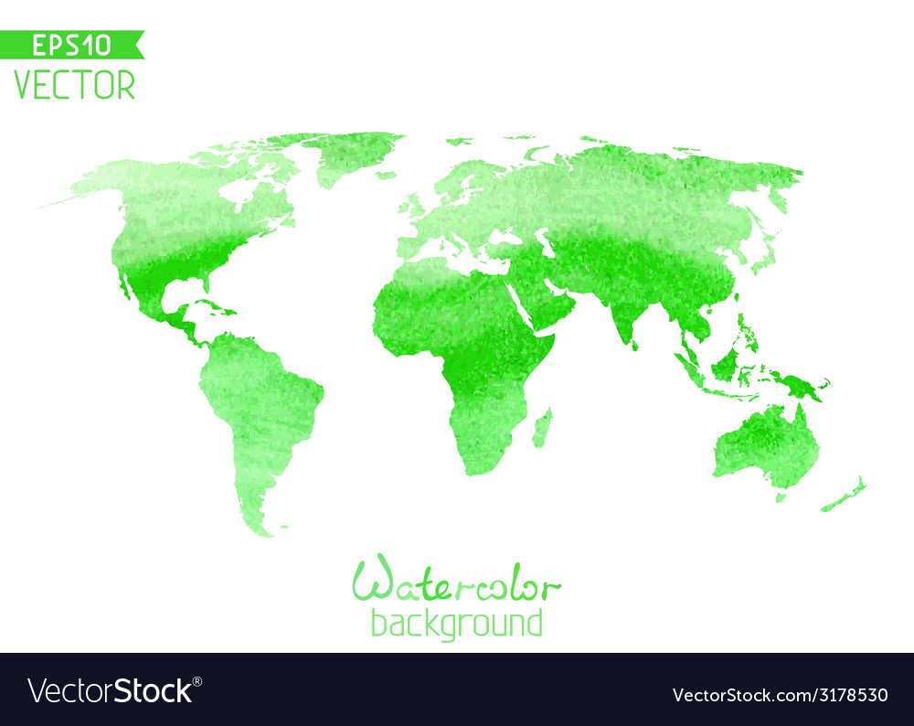 World watercolor map isolated on white background vector | Price: 1 Credit (USD $1)