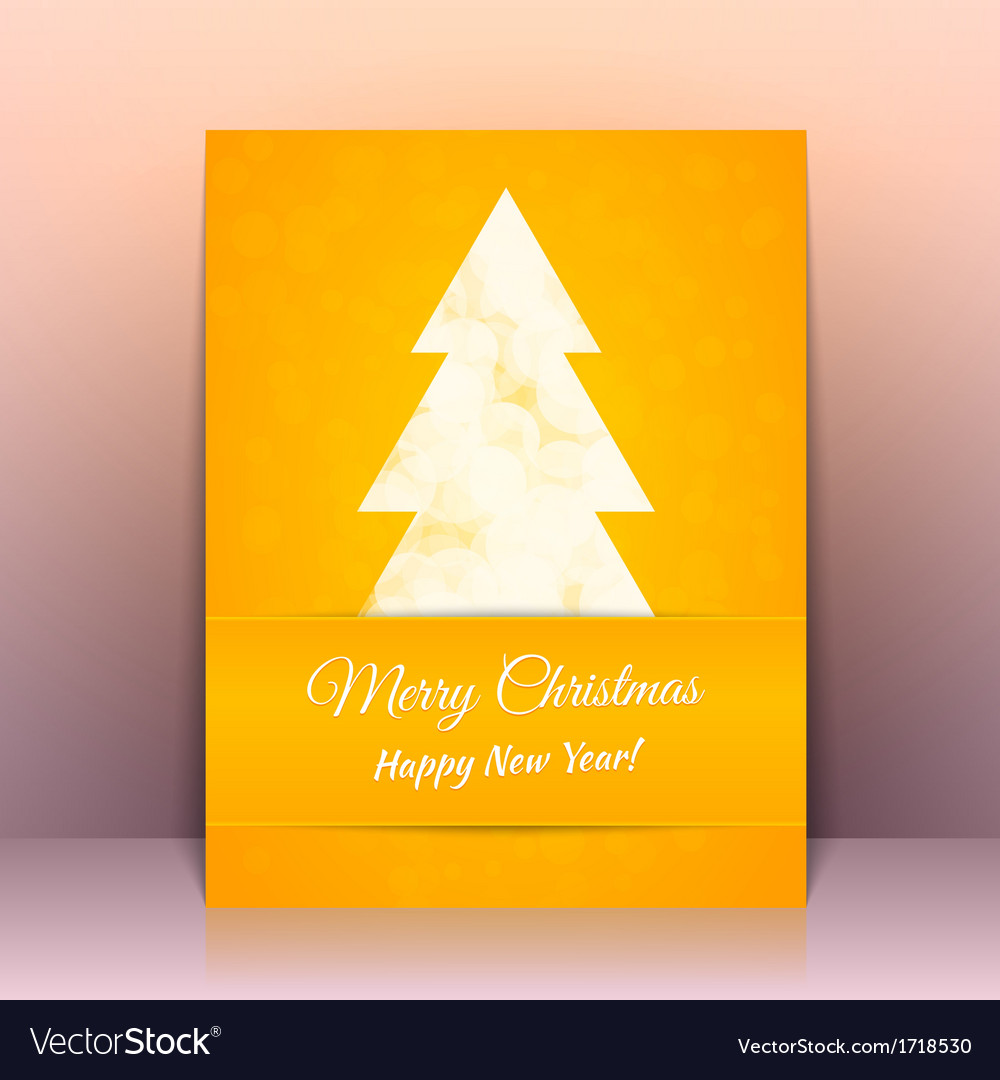 Yellow greeting card background with cristmas tree vector | Price: 1 Credit (USD $1)