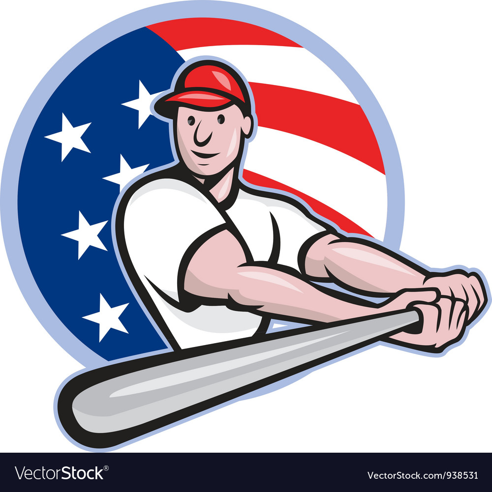 American baseball player batting cartoon vector | Price: 3 Credit (USD $3)
