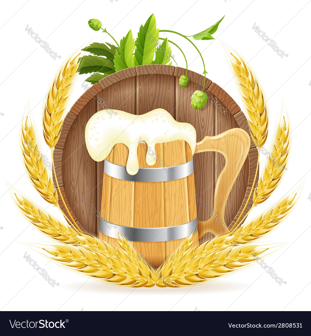 Barrel of beer and wooden mug vector | Price: 3 Credit (USD $3)