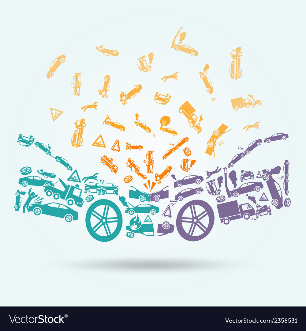 Car crash icons concept vector | Price: 1 Credit (USD $1)