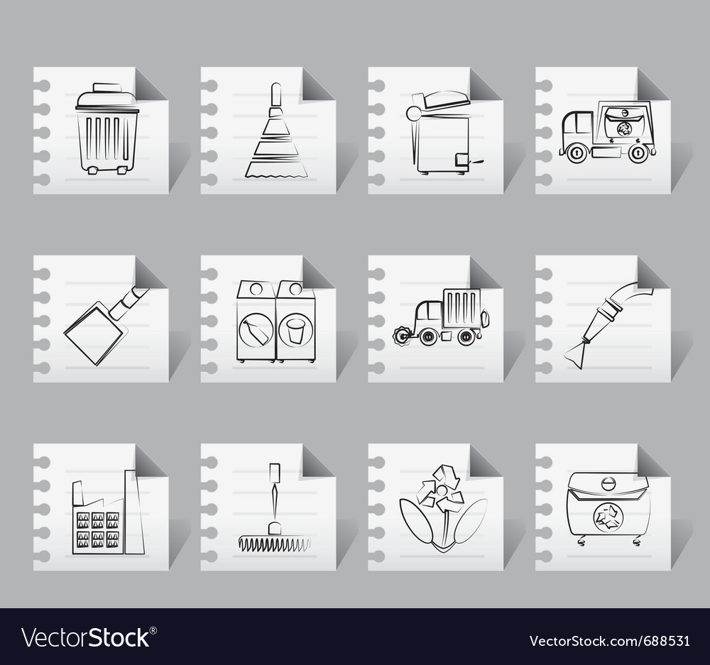 Cleaning industry and environment icons vector | Price: 1 Credit (USD $1)