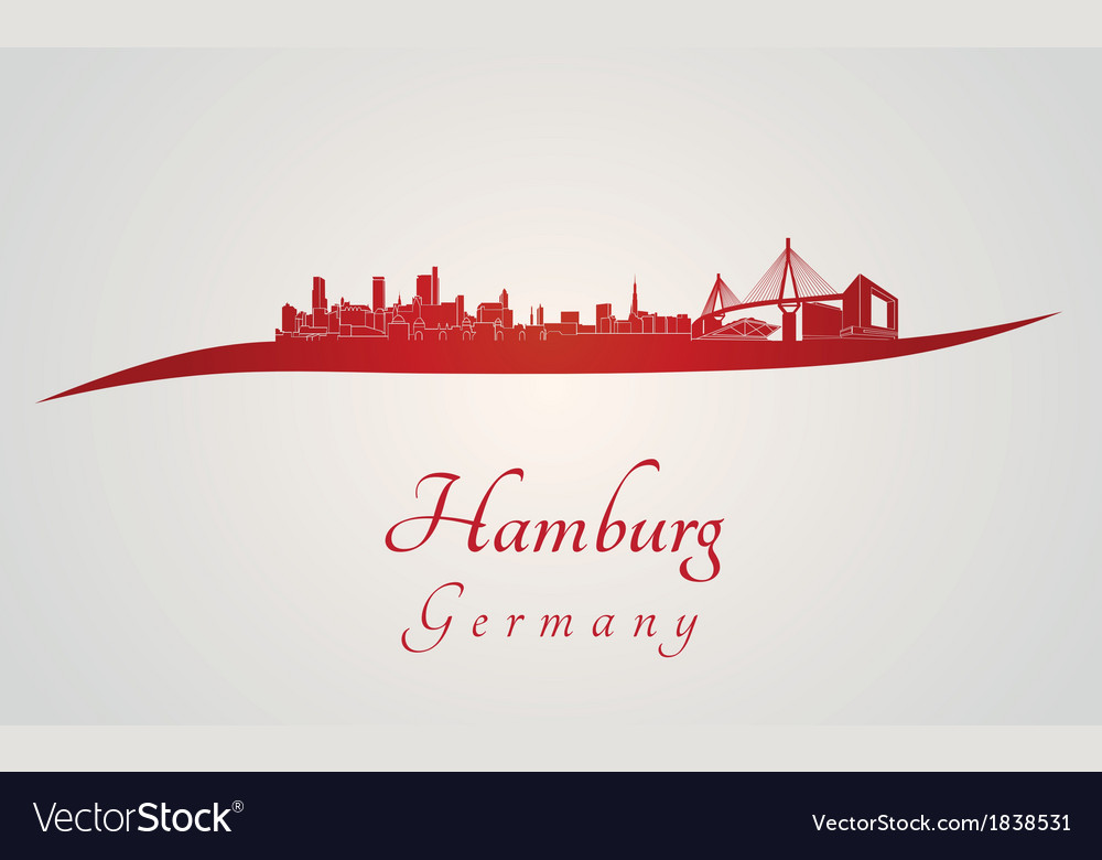 Hamburg skyline in red vector | Price: 1 Credit (USD $1)