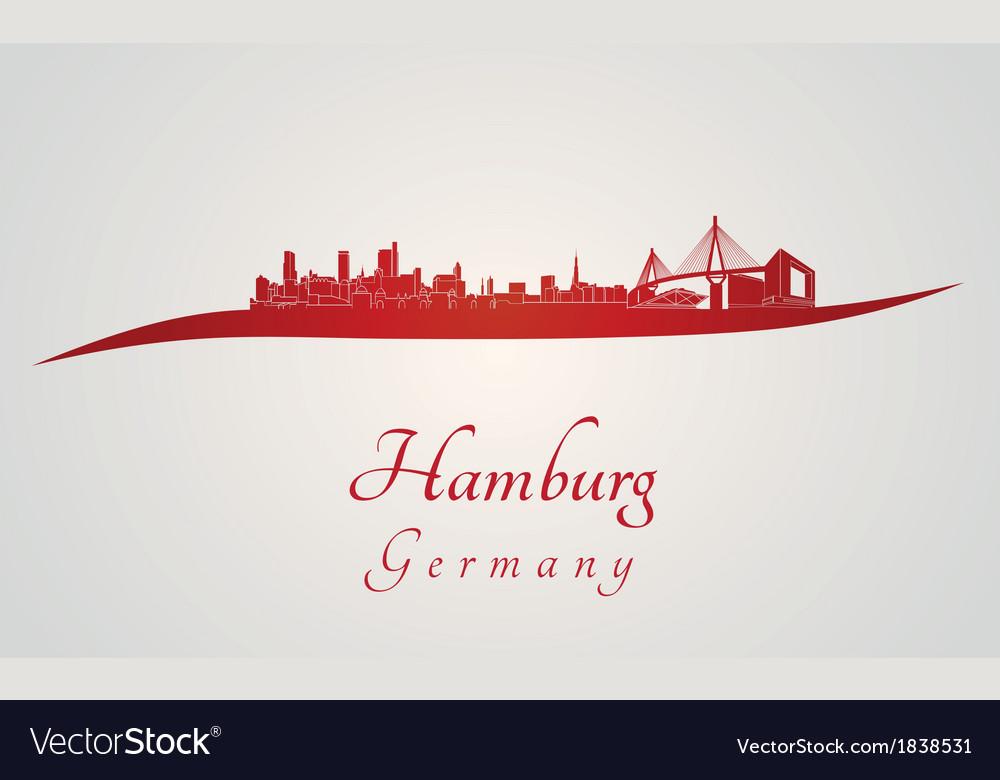Hamburg skyline in red vector   Price: 1 Credit (USD $1)