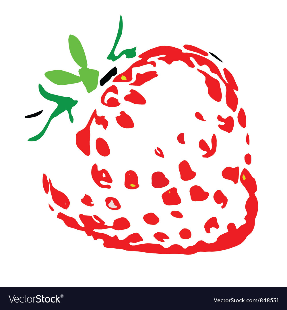 Juicy strawberry silhouette vector | Price: 1 Credit (USD $1)