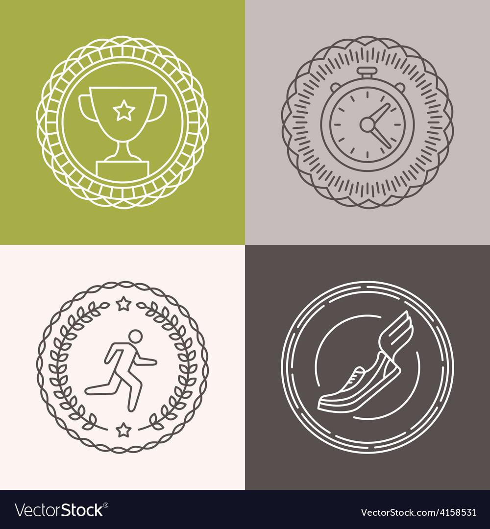 Linear runnig badges vector | Price: 1 Credit (USD $1)