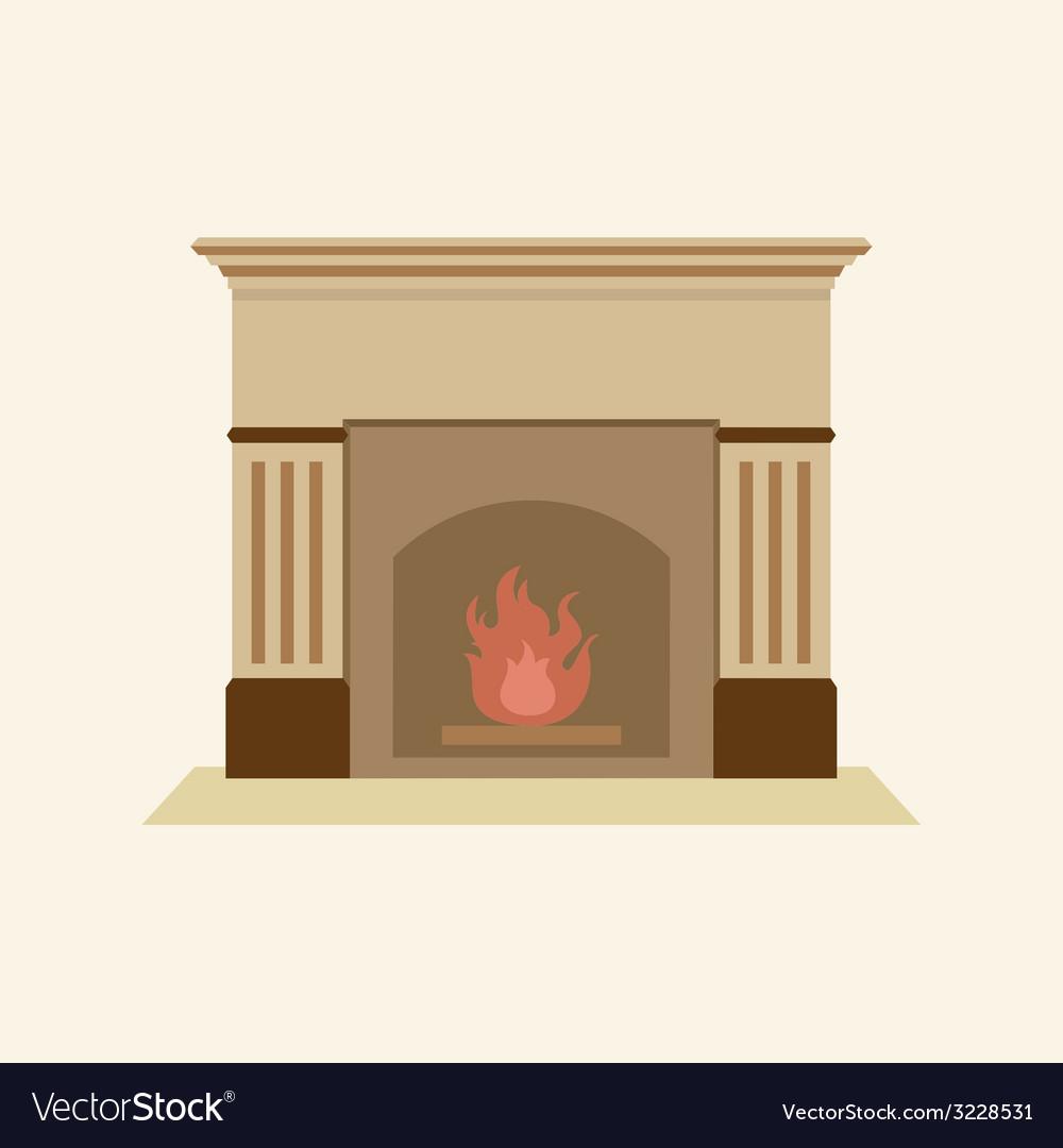 Modern flat design fireplace vector | Price: 1 Credit (USD $1)