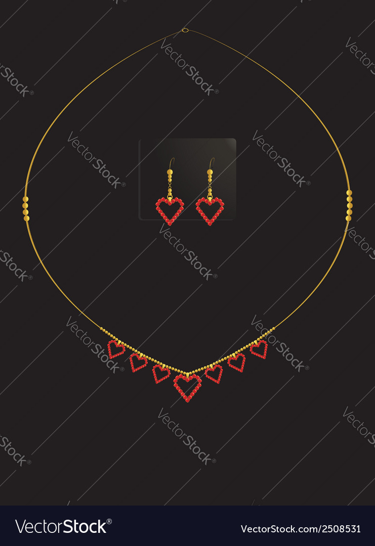 Red heart necklace set vector | Price: 1 Credit (USD $1)