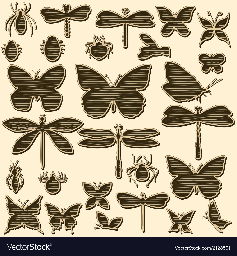 Set of stylized insects for decorating your work vector | Price: 1 Credit (USD $1)