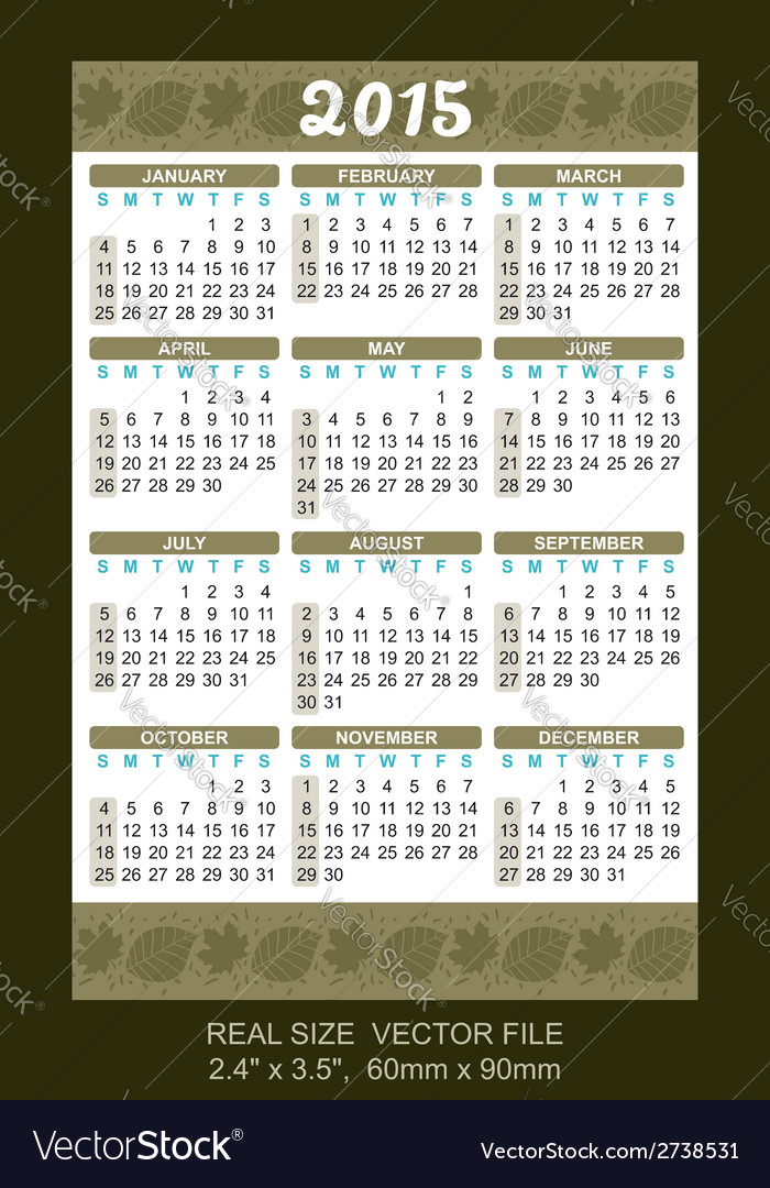 Wallet calendar 2015 start on sunday vector | Price: 1 Credit (USD $1)