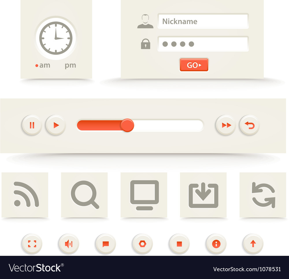 Web player interface template vector | Price: 1 Credit (USD $1)