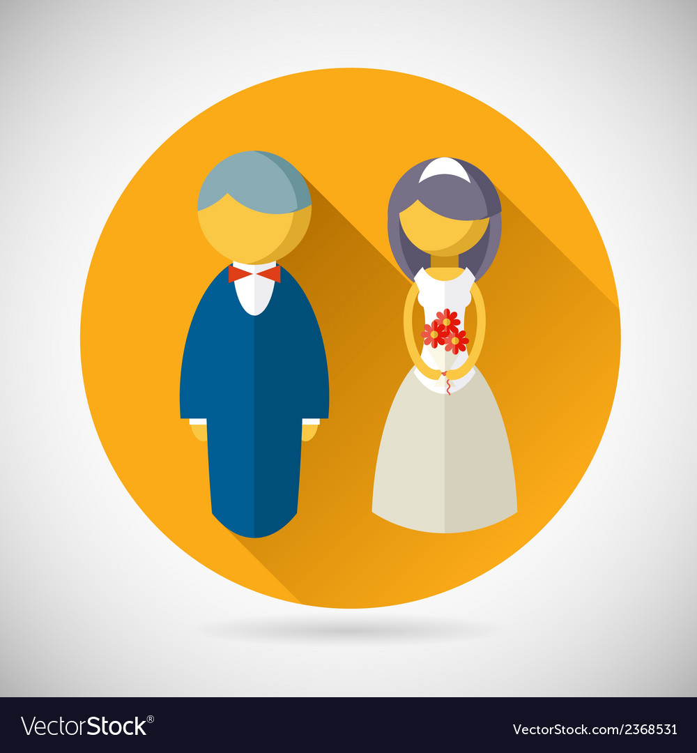 Wedding symbol bride and groom marriage icon vector | Price: 1 Credit (USD $1)