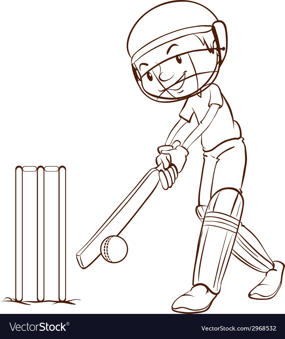 A simple sketch of a man playing cricket vector | Price: 1 Credit (USD $1)