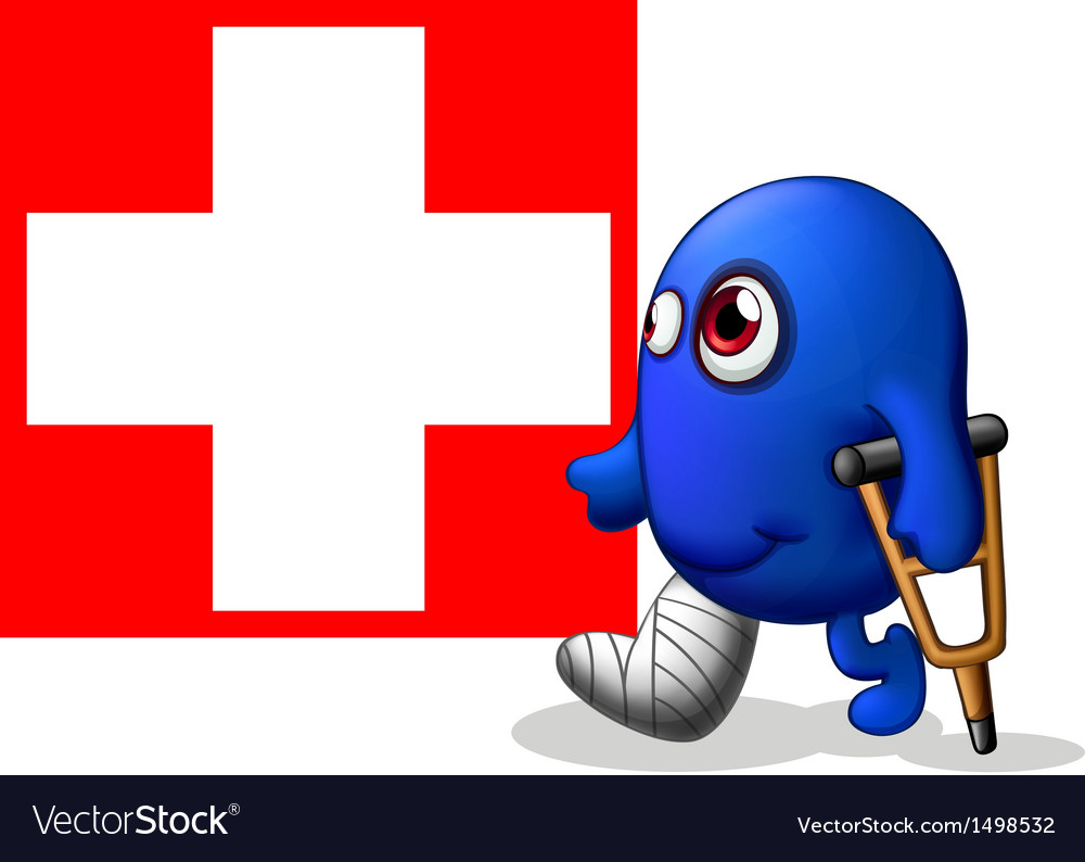 An injured monster near the red cross signage vector | Price: 1 Credit (USD $1)