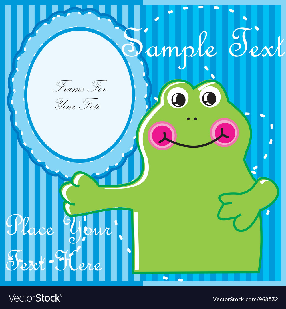 Baby postcard with frog vector | Price: 1 Credit (USD $1)