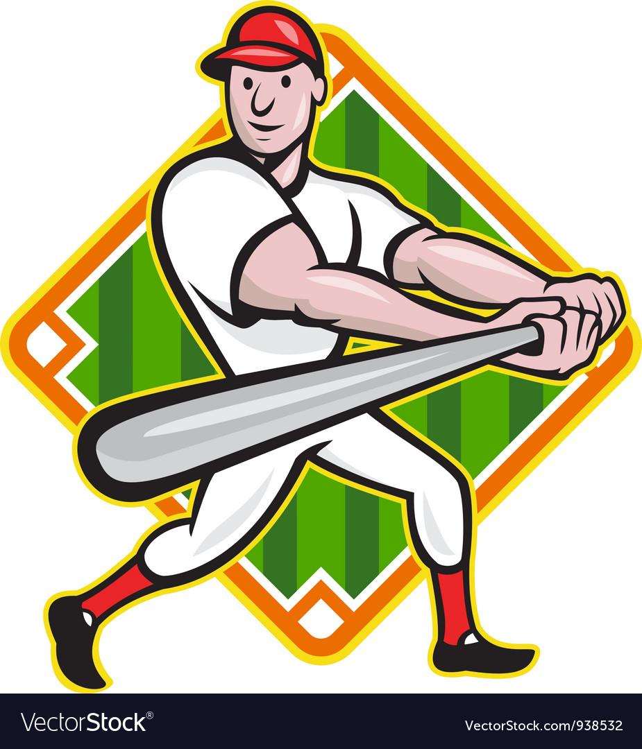 Baseball player batting diamond cartoon vector   Price: 1 Credit (USD $1)