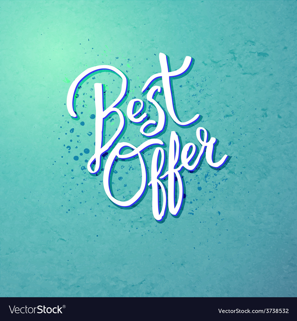 Best offer concept on blue green background vector | Price: 1 Credit (USD $1)