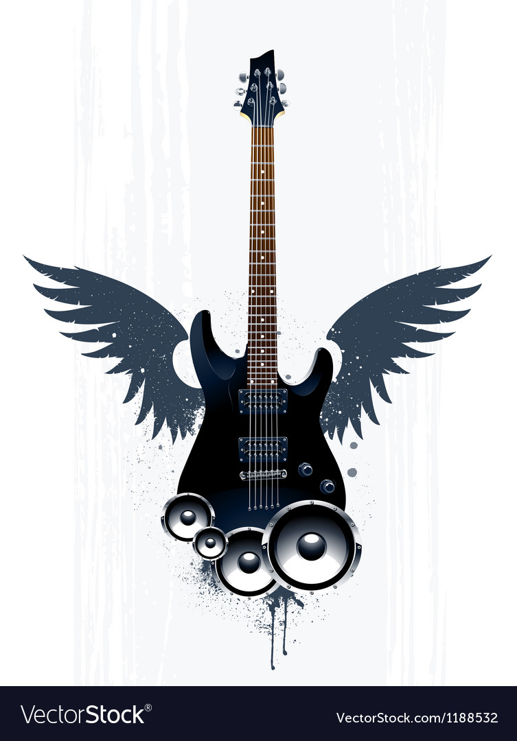 Black guitar with speakers vector | Price: 3 Credit (USD $3)