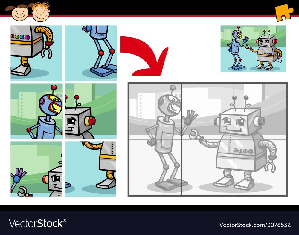Cartoon robots jigsaw puzzle game vector | Price: 1 Credit (USD $1)