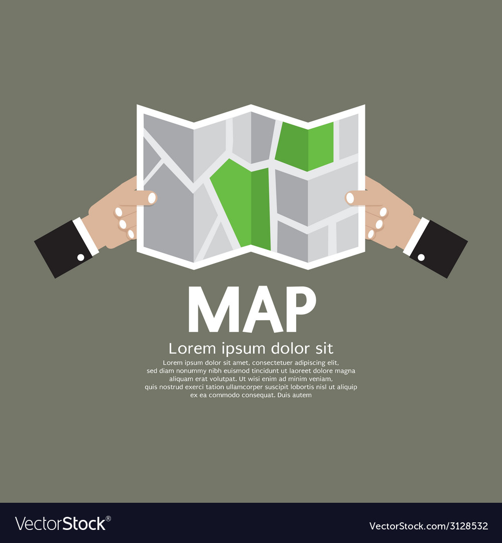 Paper map in hand vector | Price: 1 Credit (USD $1)