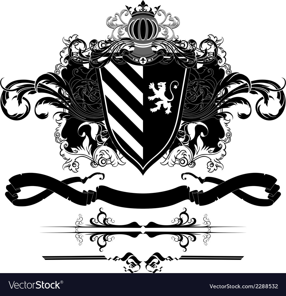 Set of ornamental heraldic elements vector | Price: 1 Credit (USD $1)