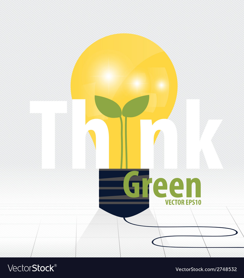Think green eco concept light bulb with tree vector | Price: 1 Credit (USD $1)