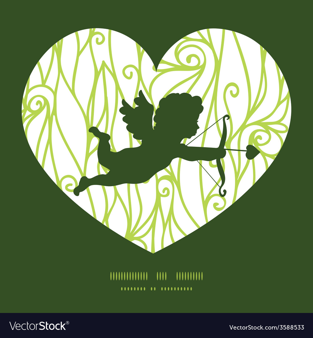 Abstract swirls texture shooting cupid silhouette vector | Price: 1 Credit (USD $1)