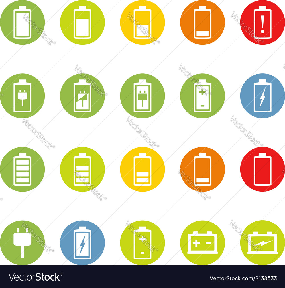 Battery and accumulator icons vector | Price: 1 Credit (USD $1)