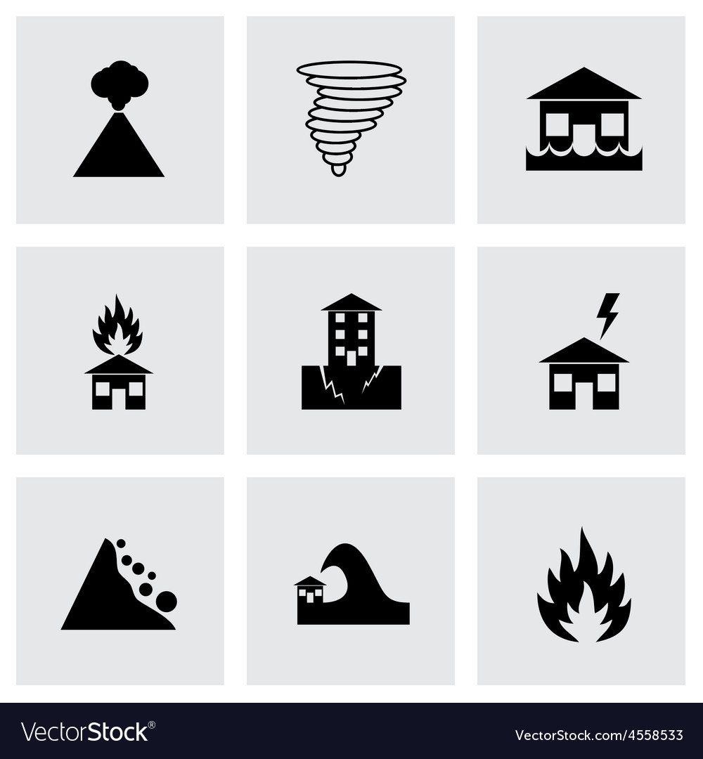 Black disaster icon set vector | Price: 1 Credit (USD $1)
