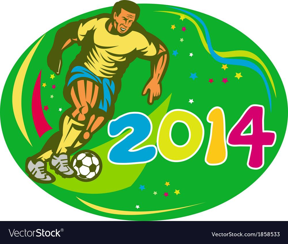 Brasil 2014 soccer football player run retro vector | Price: 1 Credit (USD $1)