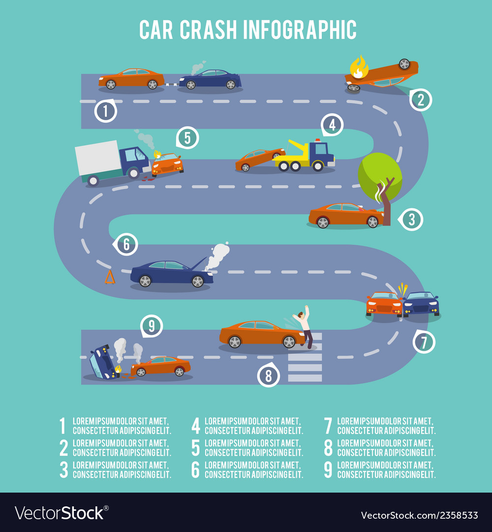 Car crash infographics vector | Price: 1 Credit (USD $1)