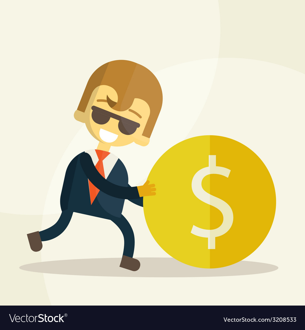 Cheerful businessman rolls coin vector | Price: 1 Credit (USD $1)