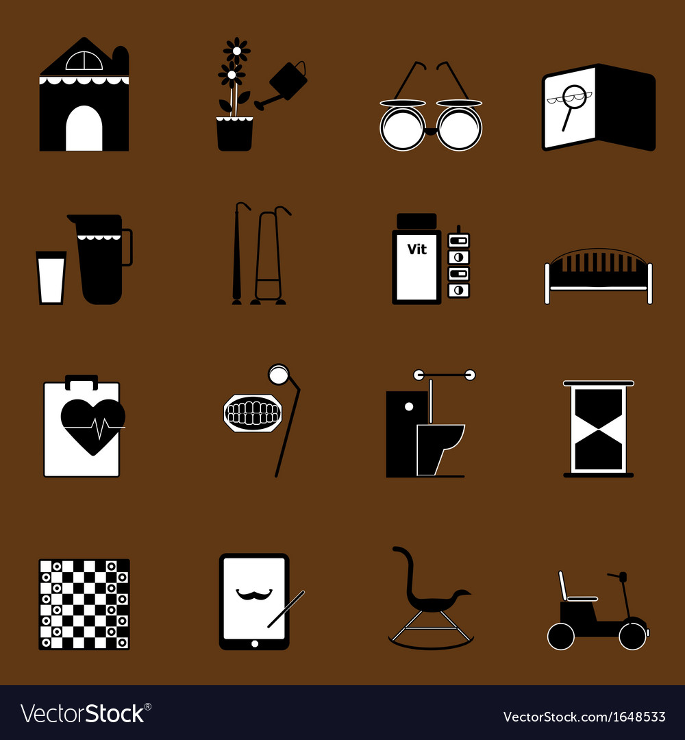 Elderly related icons on brown background vector | Price: 1 Credit (USD $1)