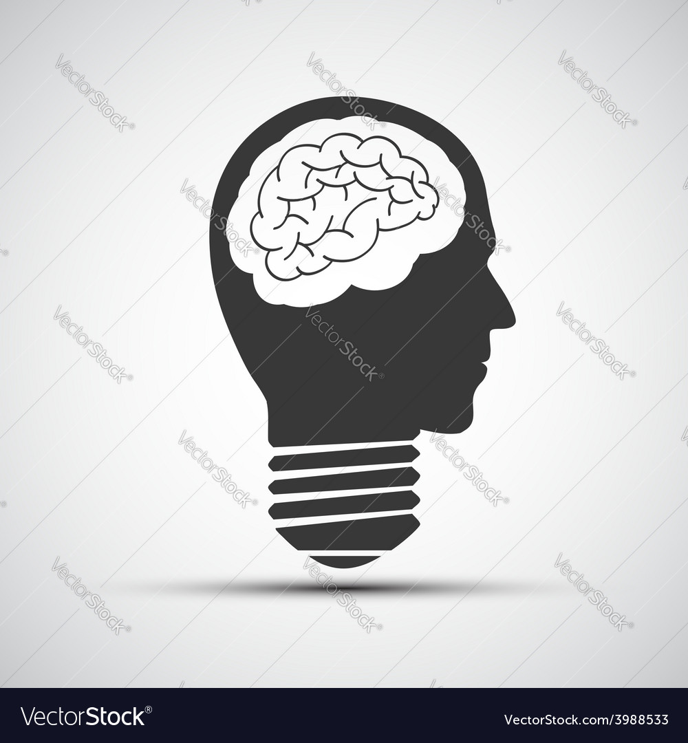 Icons bulb of a human head vector | Price: 1 Credit (USD $1)