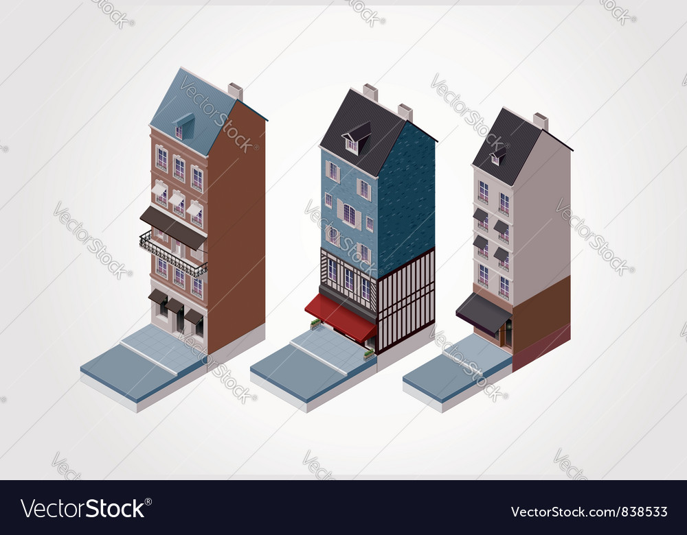 Isometric old buildings vector | Price: 3 Credit (USD $3)
