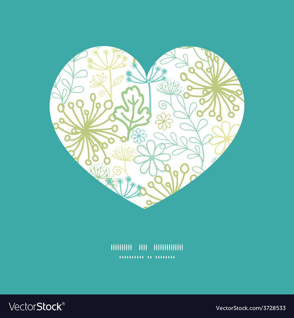 Mysterious green garden heart silhouette vector   Price: 1 Credit (USD $1)