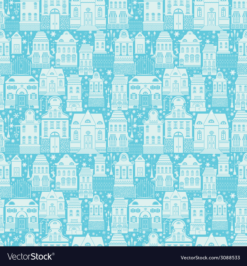 Seamless pattern with fairy tale houses lanterns t vector | Price: 1 Credit (USD $1)