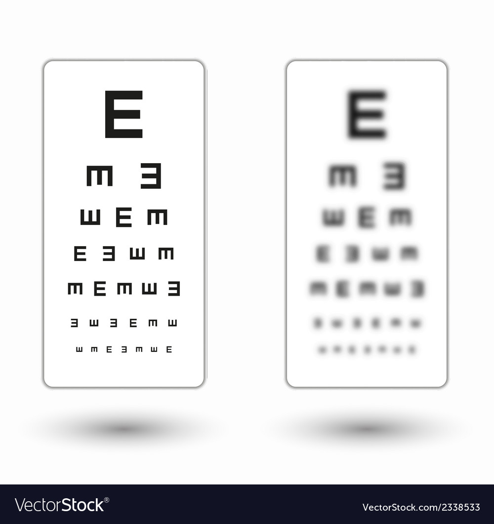 Sharp and unsharp simple snellen chart with one vector | Price: 1 Credit (USD $1)