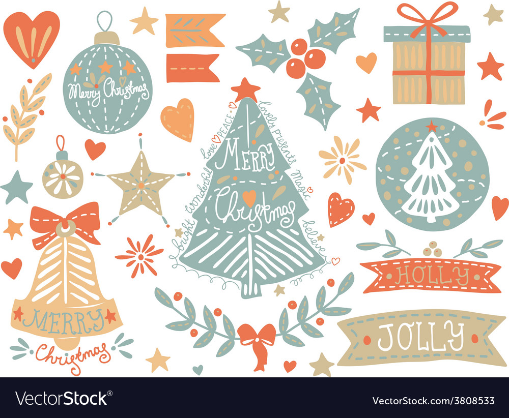 Sketchy christmas elements set vector | Price: 1 Credit (USD $1)