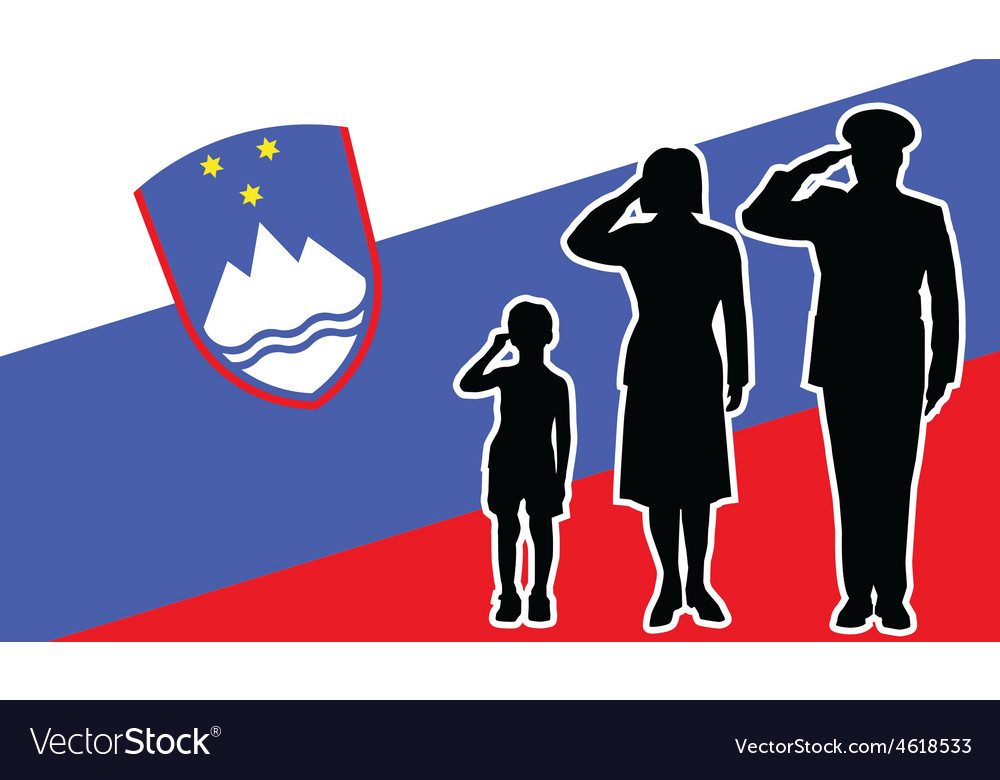Slovenia soldier family salute vector | Price: 1 Credit (USD $1)