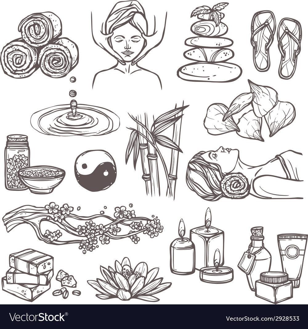 Spa sketch icons vector | Price: 1 Credit (USD $1)