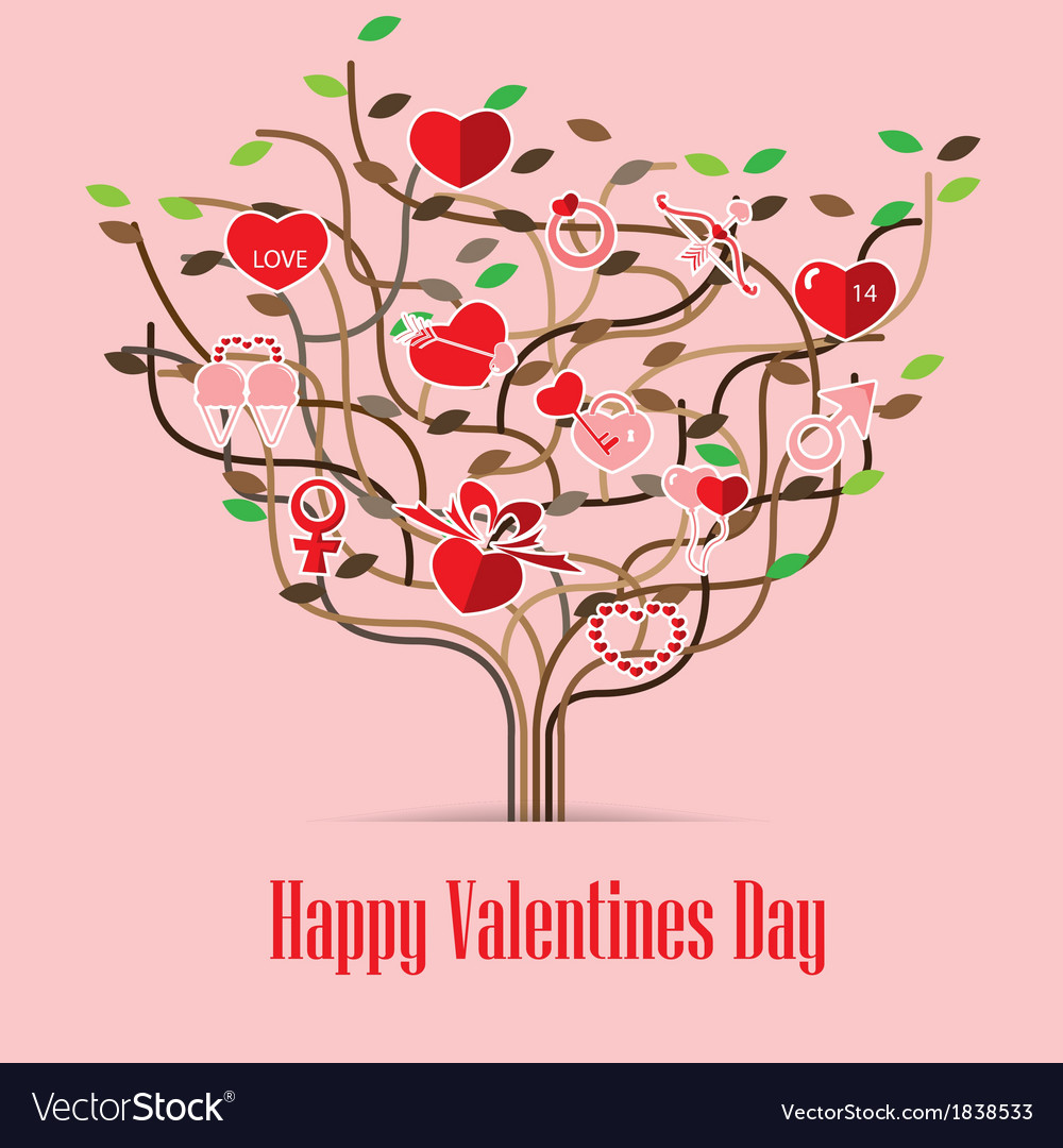 Valentine love icon tree vector | Price: 1 Credit (USD $1)