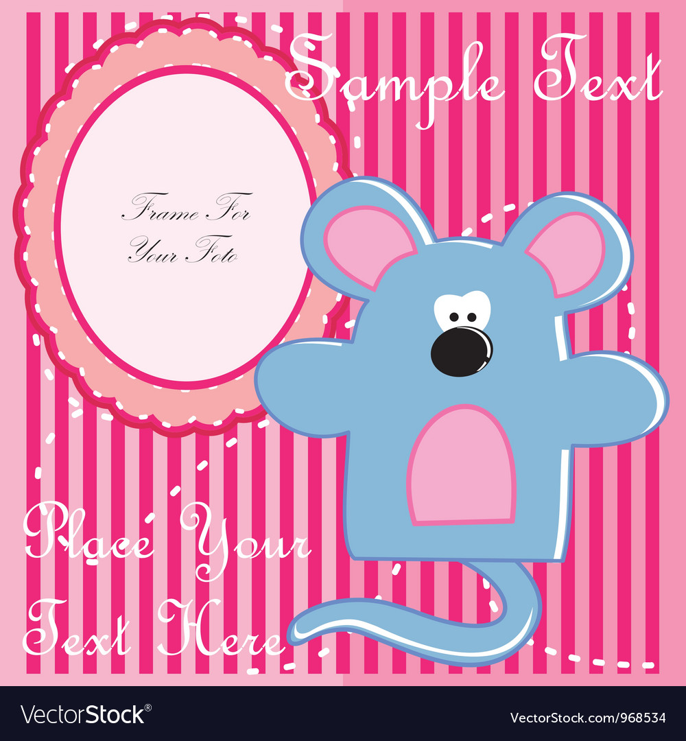 Baby postcard with mouse vector | Price: 1 Credit (USD $1)