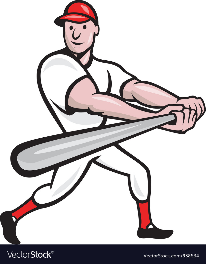 Baseball player batting cartoon vector | Price: 1 Credit (USD $1)